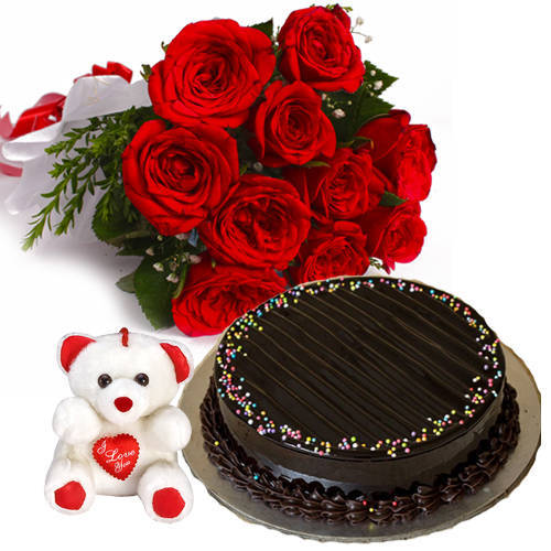 Blissful Chocolate Truffle Cake with Small Teddy & Red Color Roses Bouquet