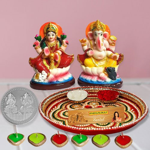 Laxmi Pooja Complete Hamper with free silver plated coin for Diwali