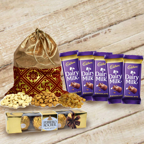 Irresistible Combo of Cadbury Chocolates N Ferrero Rocher with Dry Fruits Potli