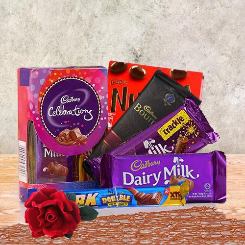 Lip-Smacking Cadbury Chocolate Gift Hamper With Red Velvet Rose