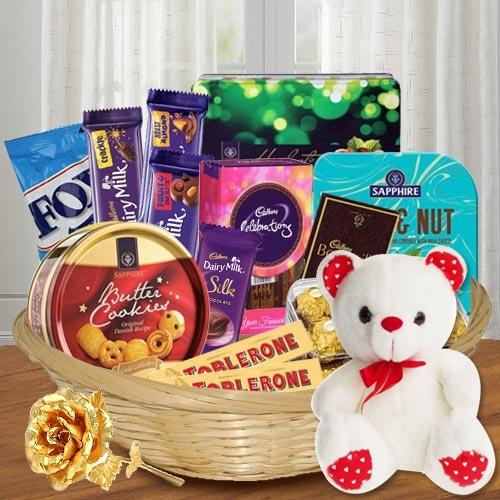 Appealing Gift Basket of Chocolate Treat with Golden Rose N Teddy
