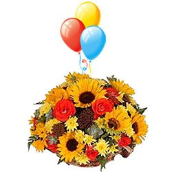 Radiant Mixed Flower Bouquet with Balloons