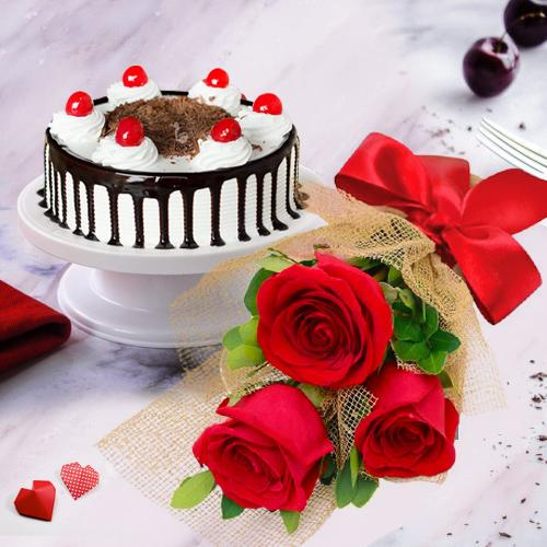 Sensational Red Roses with Black Forest Cake