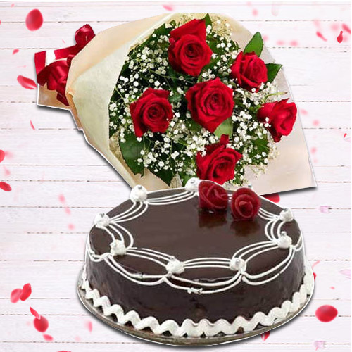 Red Rose with Chocolate Cake Combo