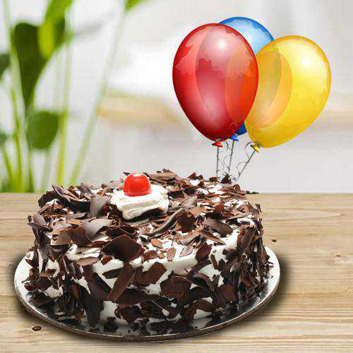 Yummy Black Forest Cake with Balloons<br>