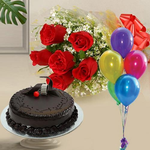Fresh-Baked Chocolate Cake with Red Roses and Balloons<br>