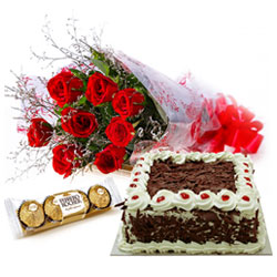 Wonderful Combo of Red Rose Bouquet, Ferrero Rocher and Cake