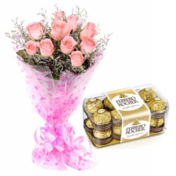 Remarkable Pink Roses N Ferrero Rocher Chocolates