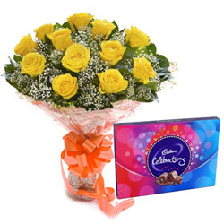 Exotic Yellow Rose Bouquet with Cadbury Celebration