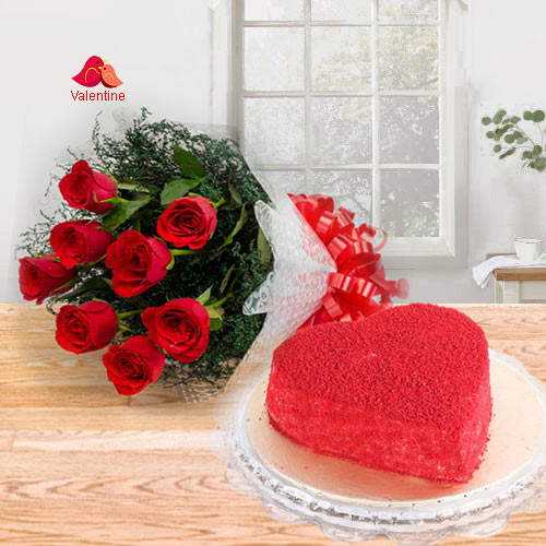 Romantic Red Roses Bouquet with Heart Shape Red Velvet Cake