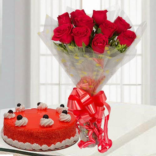 Blossoming Red Rose Bouquet with Red Velvet Cake