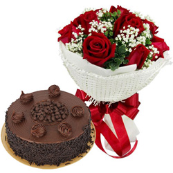Combo of Red Rose Bouquet N Chocolate Cake