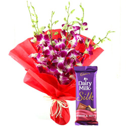 Combo of Cadbury Dairy Milk Silk and Orchids Bouquet