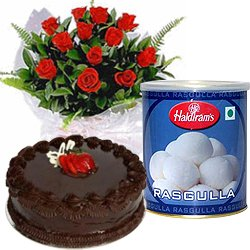 Lovely Red Roses and Rasgulla with Eggless Cake
