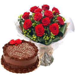Tasty Chocolate Cake with Red Rose Bouquet