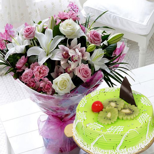 Sensational Kiwi Cake with Mixed Flowers Bouquet