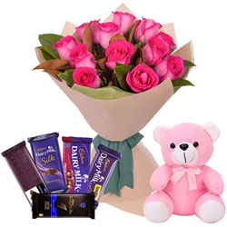 Delicious Assorted Cadbury Chocolates with Pink Roses Bouquet N Teddy