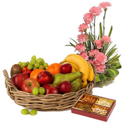 Present of Pink Carnations Basket with Fresh Fruits Basket and Assorted Dry Fruits