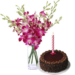 Yummy Chocolate Cake and Orchids in Vase with Candles
