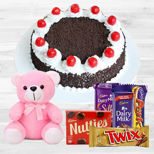 Oven-Fresh Black Forest Cake with Assorted Cadburys Chocolate and a Small Teddy<br><br>