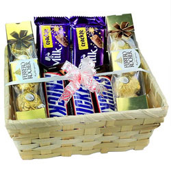 Chocolaty Favorite Gift Basket with Teddy N Rose