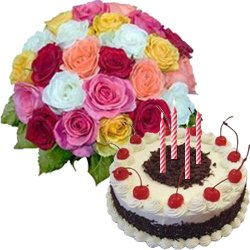 Delicious Black Forest Cake From 5 Star Bakery with Multicolor Roses