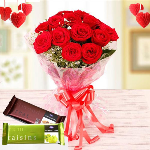 Wonderful Bouquet of Red Roses with Cadbury Temptations