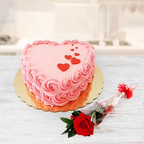 Special Love Cake n Red Rose