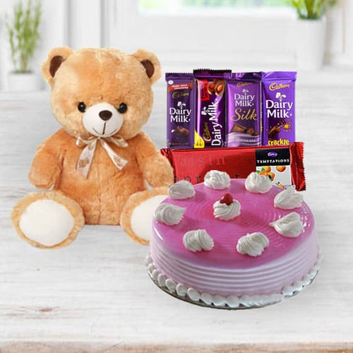 Exclusive Strawberry Cake with Chocolates N Teddy