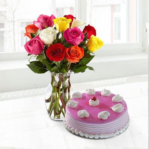 Tasty Strawberry Cake with Assorted Roses in a Vase for Mom