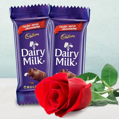 Amazing Twin Cadbury Dairy Milk Chocolate Bar with a Single Red Rose