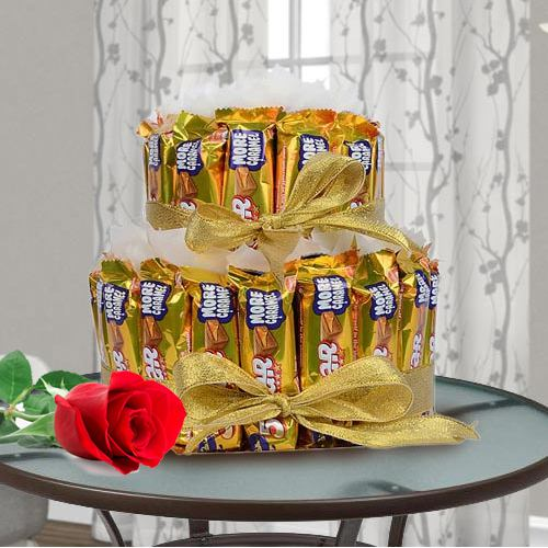 Marvelous 2 tier Arrangement of Cadbury 5 Star with Single Red Rose