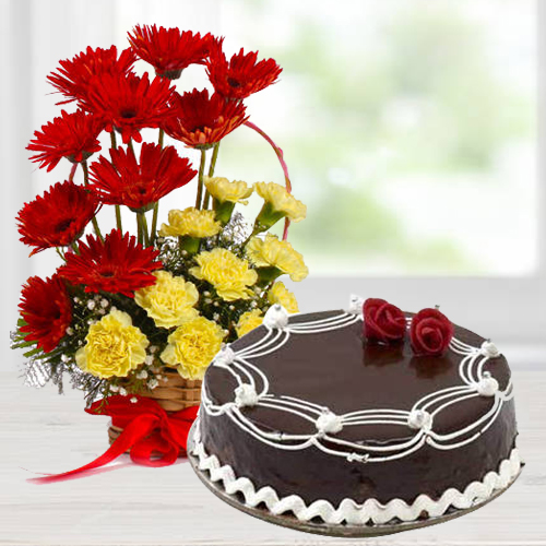 Pretty Carnations and Gerberas Arrangement with Dark Chocolate Cake<br><br>