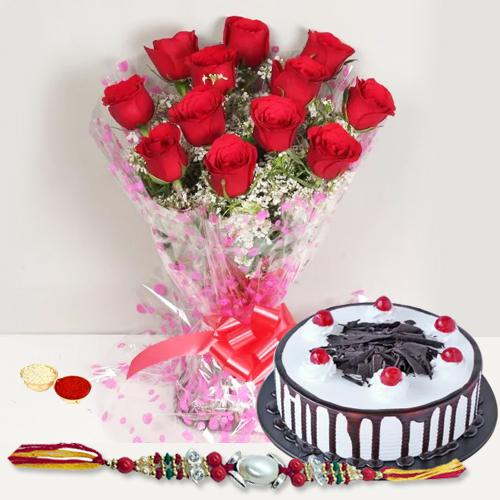 Appealing Rakhi Selection Gift of Red Roses and Black Forest Cake with Rakhi Roli Tilak and Chawal for your Loving Brother<br><br>