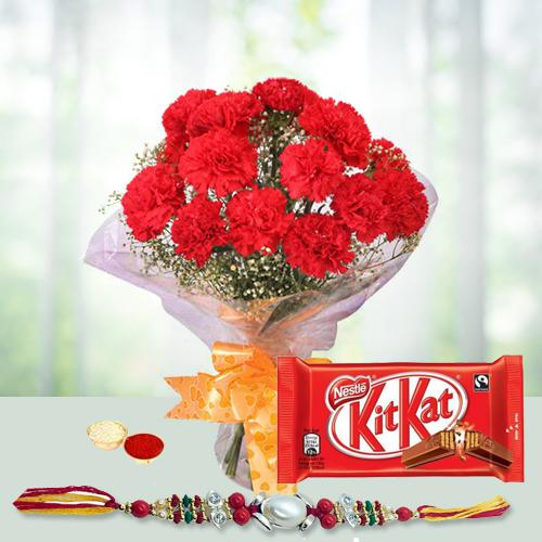 Charming Rakhi Wishes Gift of Red Carnations Bouquet and Kitkat Chocolate Pack with Rakhi Roli Tilak and Chawal