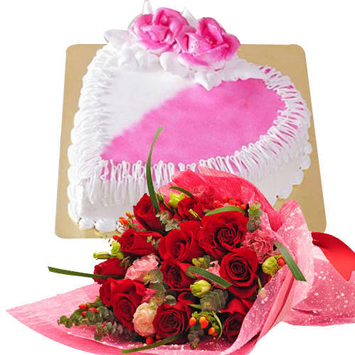 Ideal Red Dutch Roses Bouquet with Heart Shaped Cake<br>