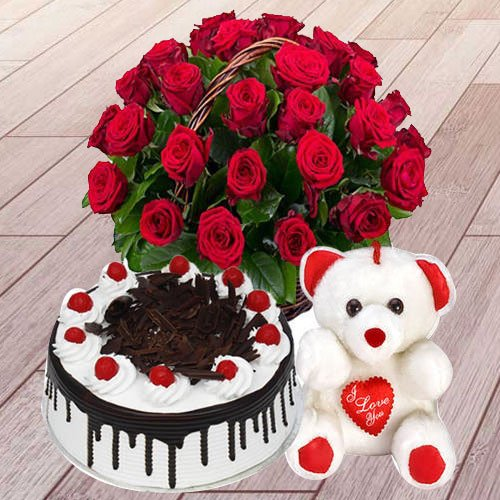 Red Roses with Cake N Teddy Bear Combo