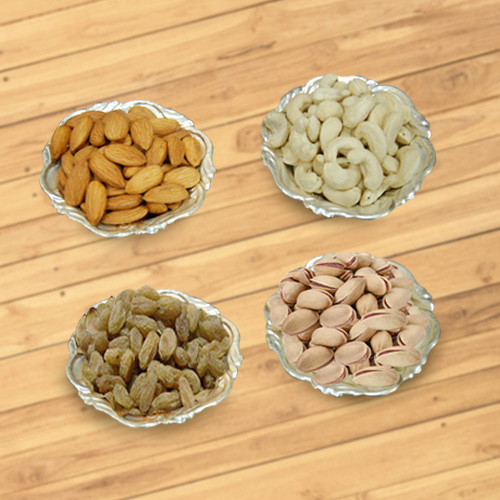 Gift of Dry Fruits with Silver Plated Bowls