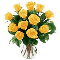 Beautiful 12 Yellow Roses in a Vase with Burst Of Joy