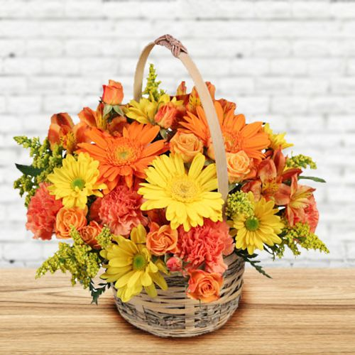 Attractive Basket of Seasonal Flowers