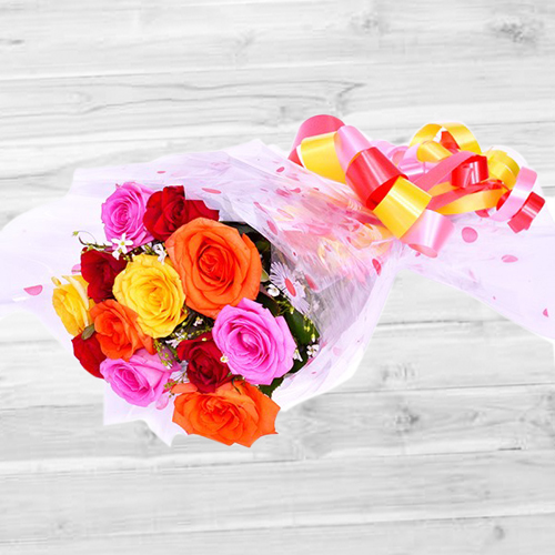 Mesmerizing Colorful Roses Bunch