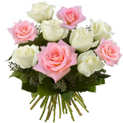 Amazing Pink and White Roses Bunch