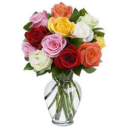 Multicolored Roses in a Vase