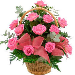 Beautiful You Will Be Mine Pink Roses Basket Collection