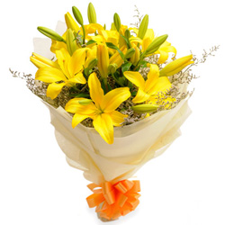 Birth-Day Charm Yellow Lilies Bouquet