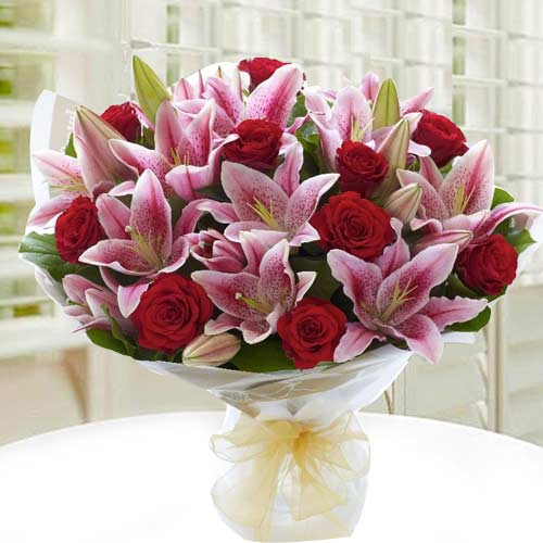 Blushing Red Roses nd White Lilies Bouquet
