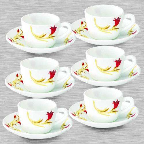 Brilliant Larah By Borosil Red Lily Cup and Saucer Set