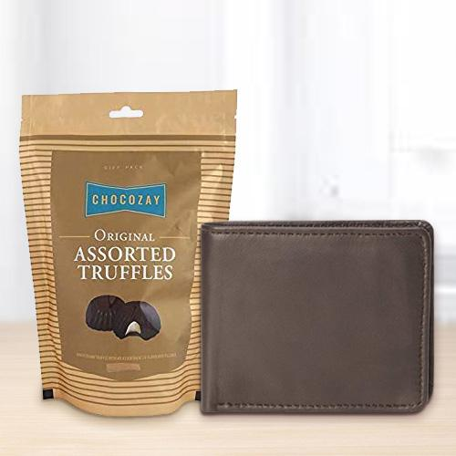 Arresting Rich Borns Gents Wallet with Assorted Truffle Chocolates