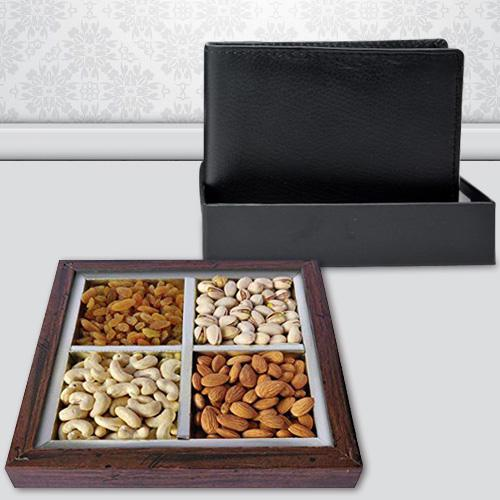 Stylish Gents Leather Wallet with Dry Fruits