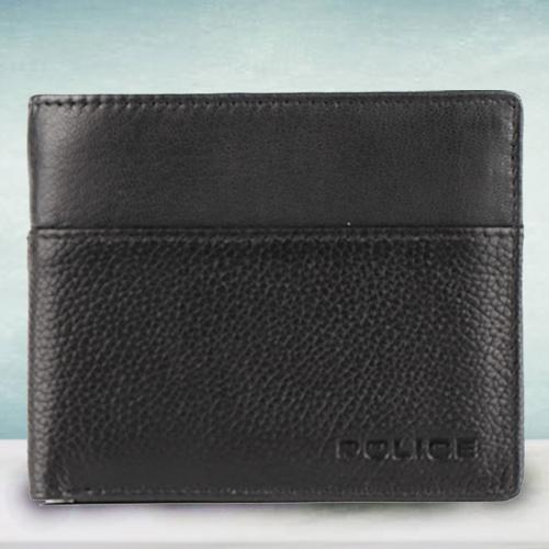 Exquisite Mens Leather Wallet in Black from Police